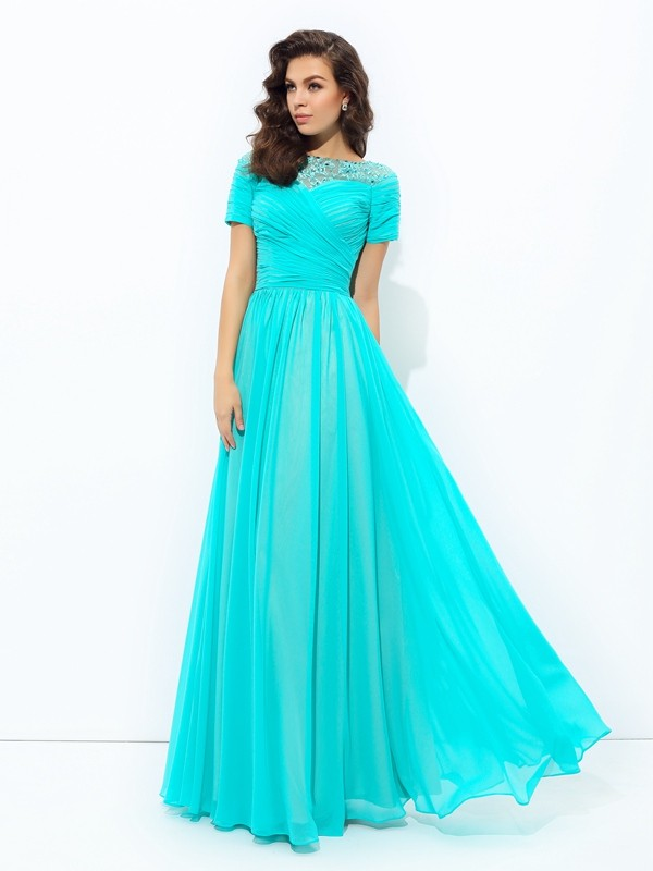 A-Line Bateau Lace Short Sleeves Long Chiffon Dresses