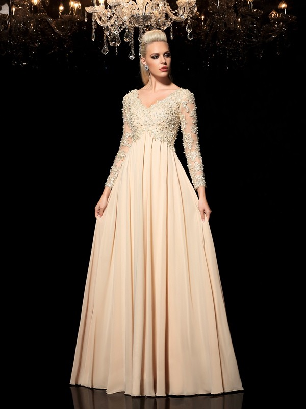 A-Line V-neck Long Sleeves Floor-Length Chiffon Dresses With Applique