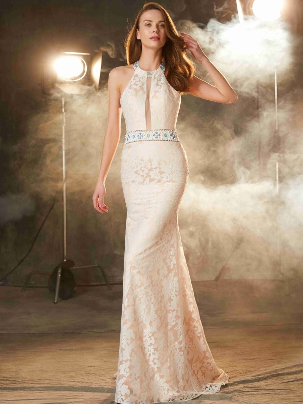 Sheath/Column Halter Sleeveless Floor-Length Satin Debs Dress With Lace