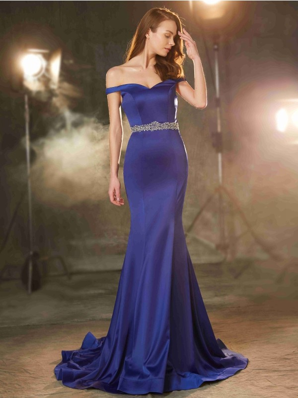 Trumpet/Mermaid Off-the-Shoulder Sleeveless Crystal Sweep/Brush Train Evening Dress With Satin