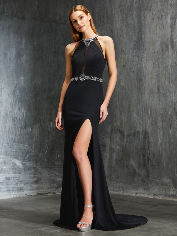 Sheath/Column High Neck Sleeveless Sweep/Brush Train Spandex Dress With Beading
