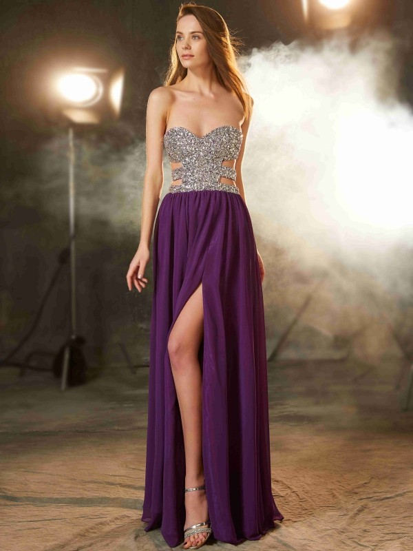 A-Line/Princess Sweetheart Sleeveless Floor-Length Chiffon Debs Dress With Crystal