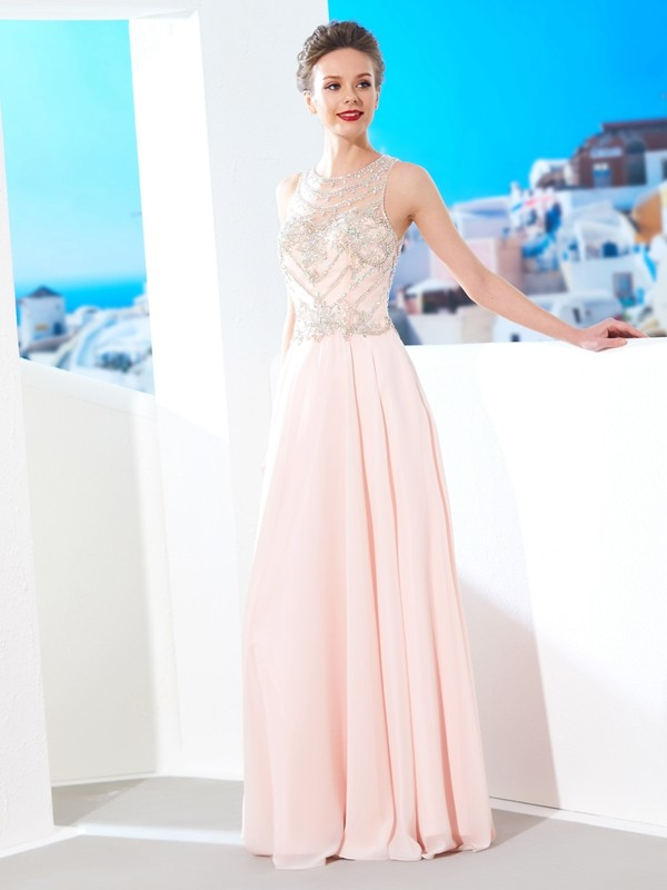 A-Line/Princess Scoop Sleeveless Chiffon Crystal Floor-length Dresses
