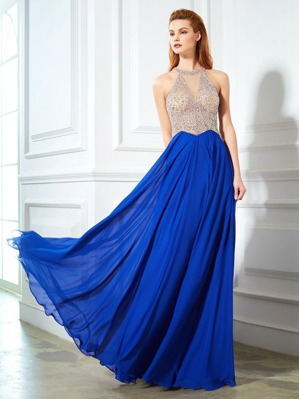 A-Line/Princess Scoop Sleeveless Floor-Length Chiffon Debs Dress With Crystal