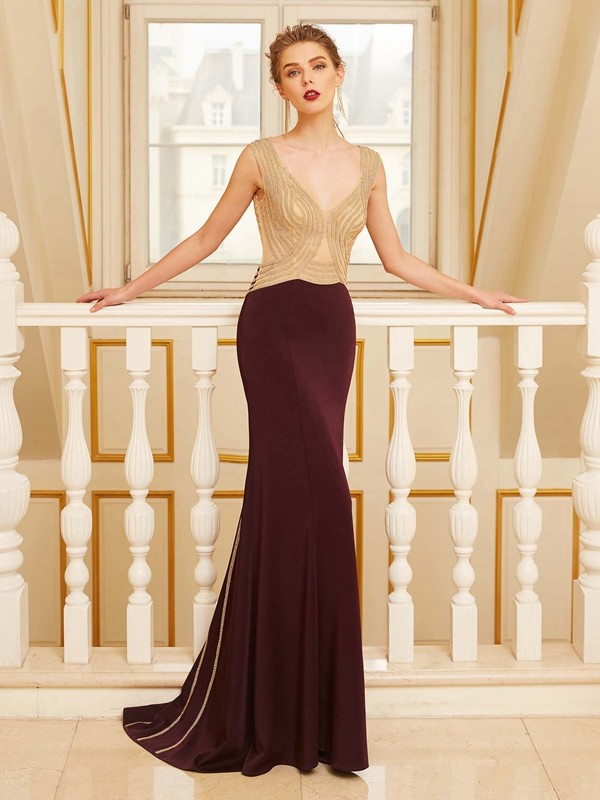 Sheath/Column Straps Sleeveless Sweep/Brush Train Jersey Dress With Beading