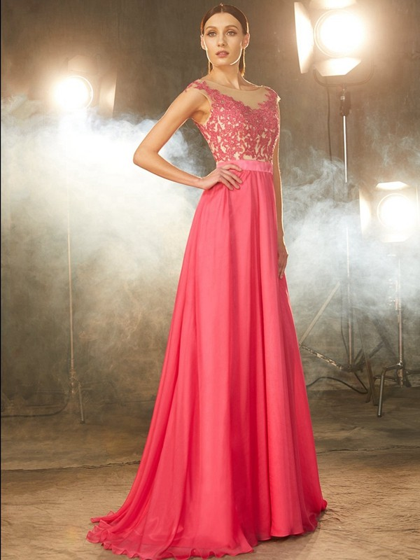 A-Line/Princess Sleeveless Sheer Neck Sweep/Brush Train Chiffon Debs Dress With Applique