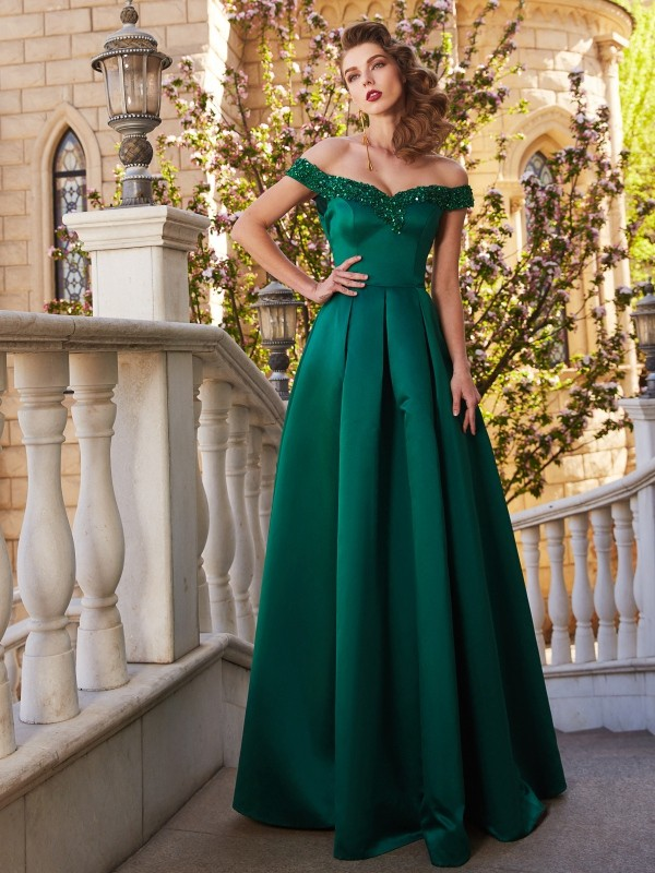 A-Line/Princess Off-the-Shoulder Sequin Sleeveless Satin Floor-Length Debs Dress