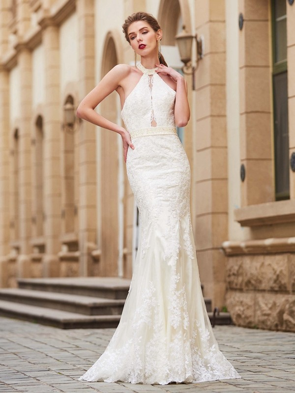 Sheath/Column Jewel Sleeveless Floor-Length Applique Debs Dress With Lace