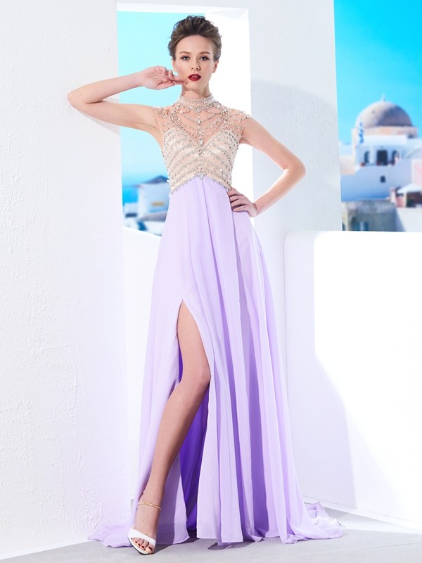 A-Line/Princess High Neck Sleeveless Sweep/Brush Train Chiffon Debs Dress With Crystal