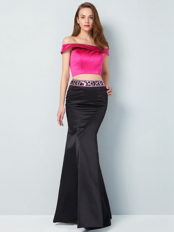Trumpet/Mermaid Off-the-Shoulder Sleeveless Floor-Length Satin Two Piece Debs Dress With Beading