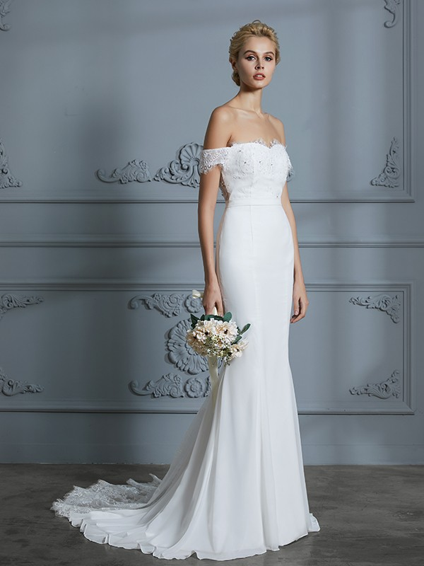 Trumpet/Mermaid Off-the-Shoulder Sleeveless Chiffon Lace Sweep/Brush Train Wedding Dresses
