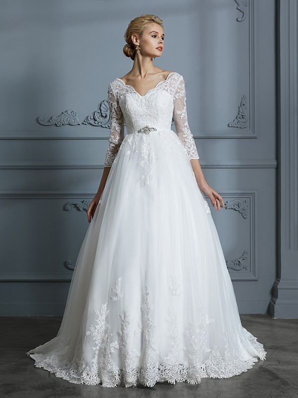 Ball Gown V-neck Lace 3/4 Sleeves Court Train Tulle Wedding Dresses