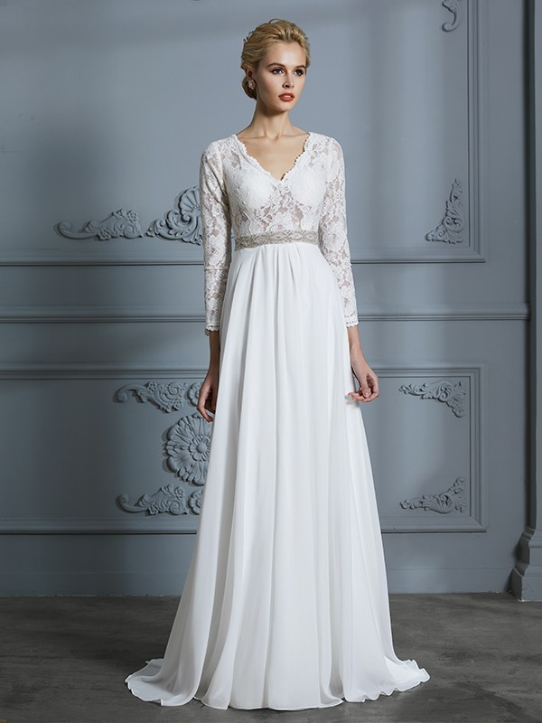A-Line/Princess V-neck 3/4 Sleeves Lace Sweep/Brush Train Chiffon Wedding Dresses