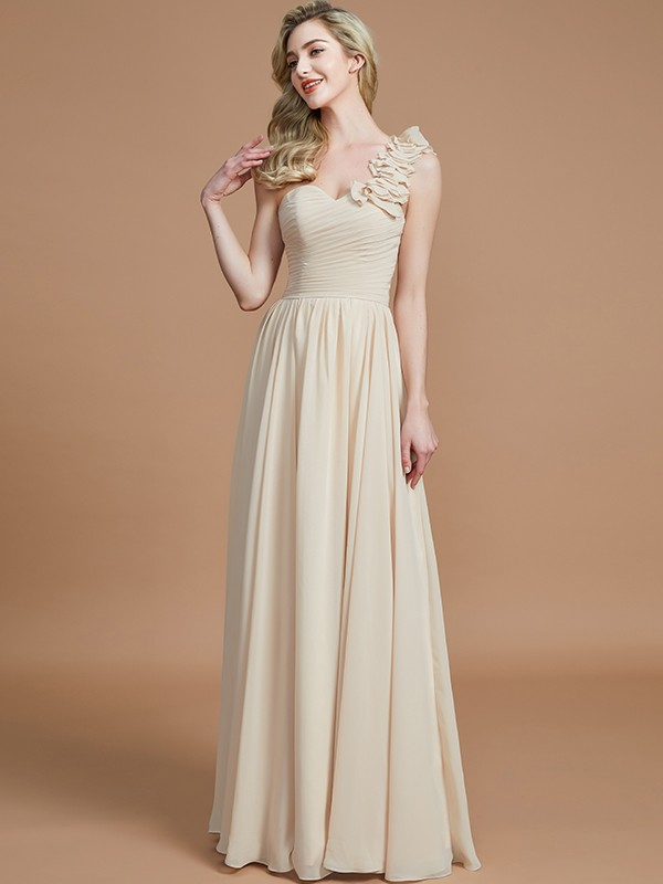 A-Line/Princess One-Shoulder Sleeveless Floor-Length Chiffon Bridesmaid Dresses