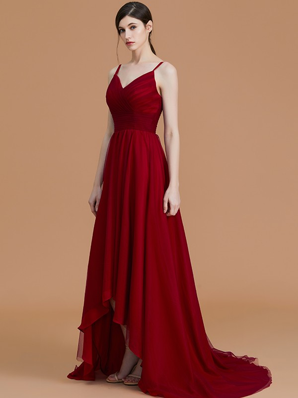 A-Line/Princess Chiffon Spaghetti Straps Sleeveless Asymmetrical Ruffles Bridesmaid Dresses