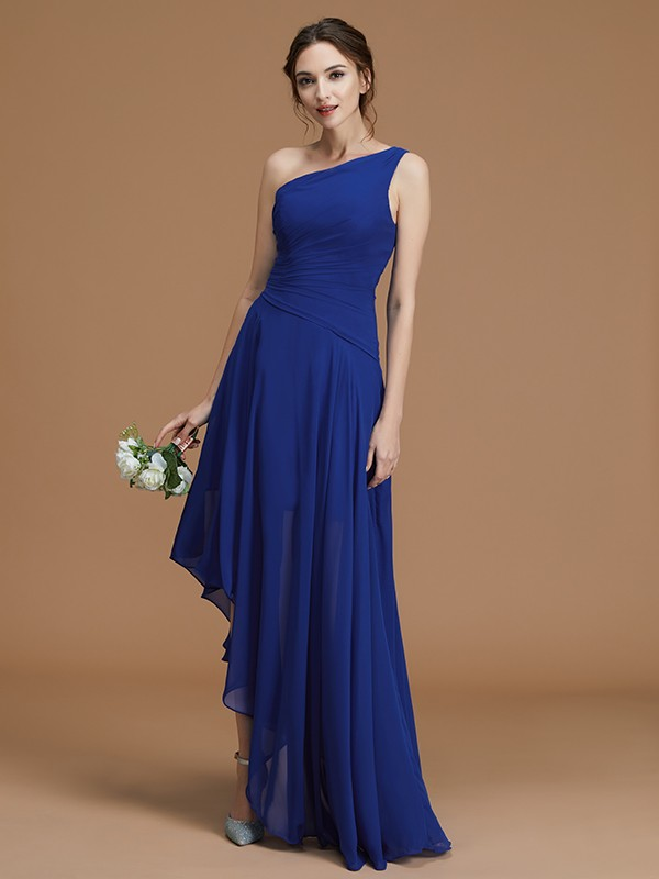 A-Line/Princess One-Shoulder Sleeveless Ruffles Chiffon Asymmetrical Bridesmaid Dresses