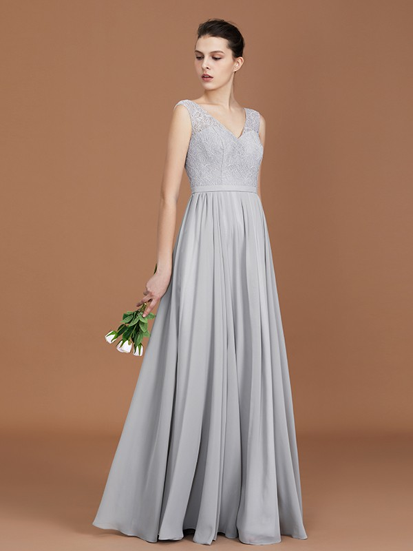 A-Line/Princess V-neck Sleeveless Chiffon Lace Floor-Length Bridesmaid Dress