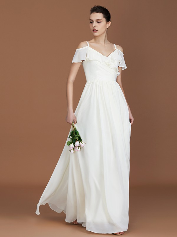 A-Line/Princess V-neck Short Sleeves Spaghetti Straps Ruched Chiffon Floor-Length Bridesmaid Dresses