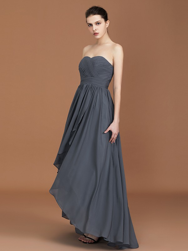 A-Line/Princess Sweetheart Sleeveless Ruched Asymmetrical Floor-Length Chiffon Bridesmaid Dresses