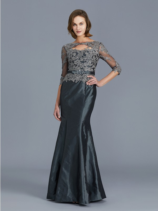 Trumpet/Mermaid Scoop 3/4 Sleeves Floor-Length Applique Taffeta Mother of the Bride Dresses
