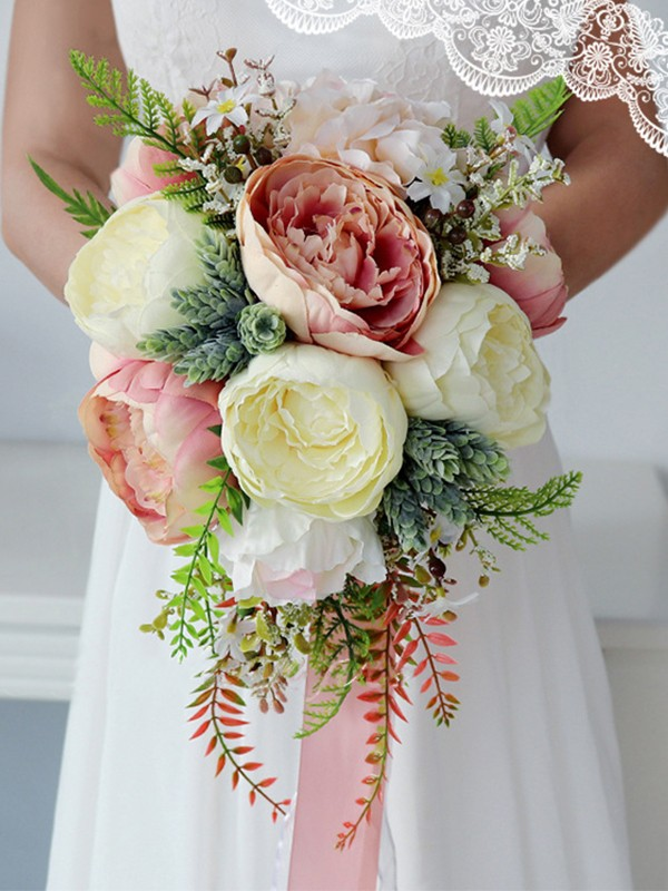 Pretty Cascade Silk Flower Bridal Bouquets