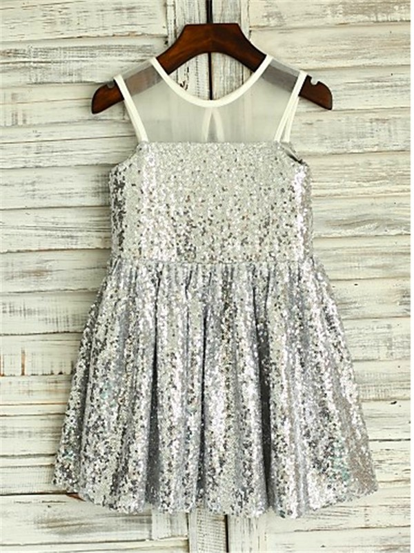 Tea-Length A-Line/Princess Scoop Sleeveless Sequin Sequins Flower Girl Dresses