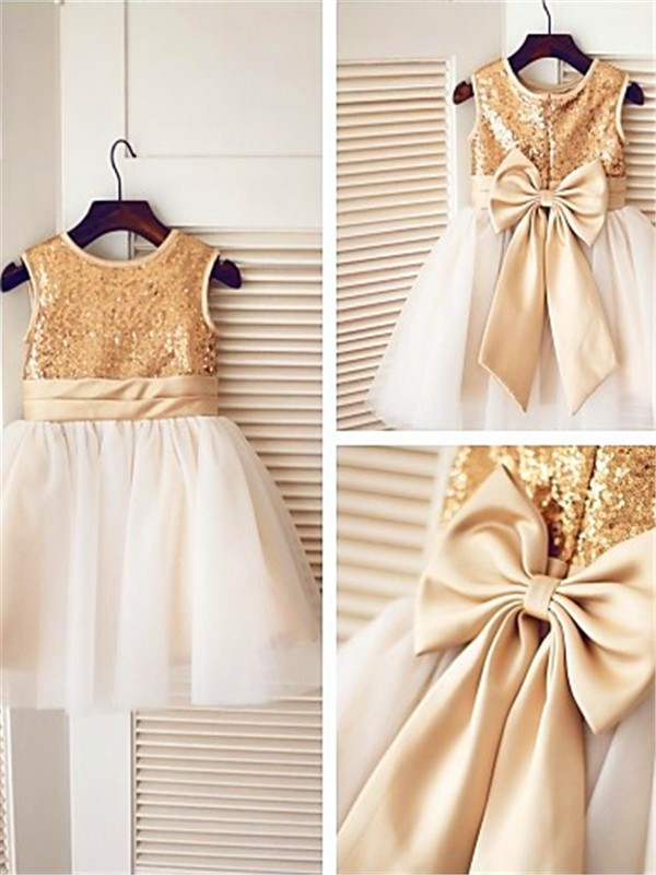 Knee-Length A-Line/Princess Scoop Sleeveless Sequin Tulle Flower Girl Dresses
