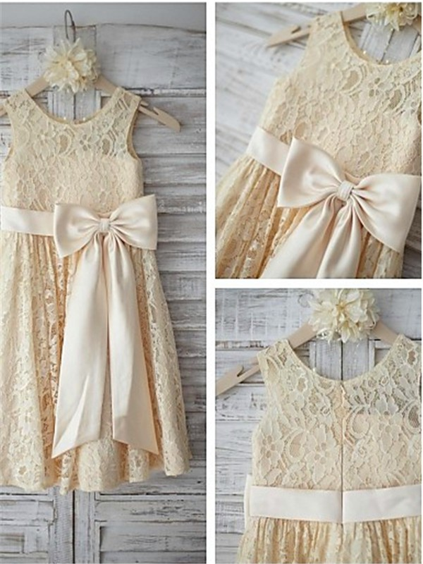 Knee-Length A-Line/Princess Scoop Sleeveless Bowknot Lace Flower Girl Dresses