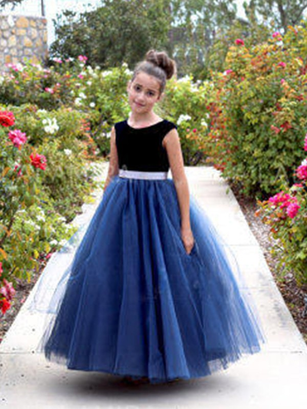 A-Line/Princess Scoop Sleeveless Sash/Ribbon/Belt Tulle Ankle-Length Flower Girl Dresses