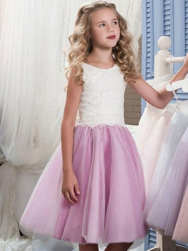 A-Line/Princess Scoop Sleeveless Lace Tulle Knee-Length Flower Girl Dresses
