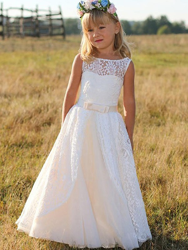 A-Line/Princess Scoop Sleeveless Sash/Ribbon/Belt Lace Floor-Length Flower Girl Dresses