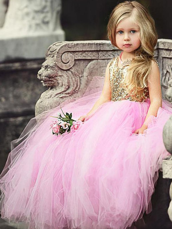 Ball Gown Sleeveless Scoop Sequin Tulle Floor-Length Flower Girl Dresses
