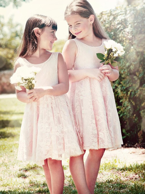 A-Line/Princess Scoop Sleeveless Ruffles Lace Knee-Length Flower Girl Dresses