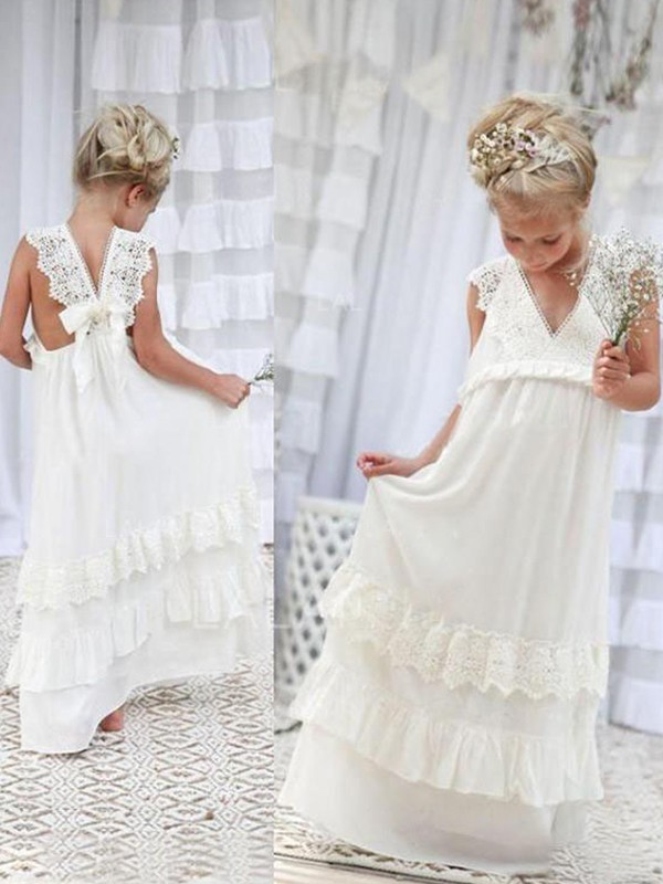 Empire V-neck Sleeveless Lace Chiffon Floor-Length Flower Girl Dresses
