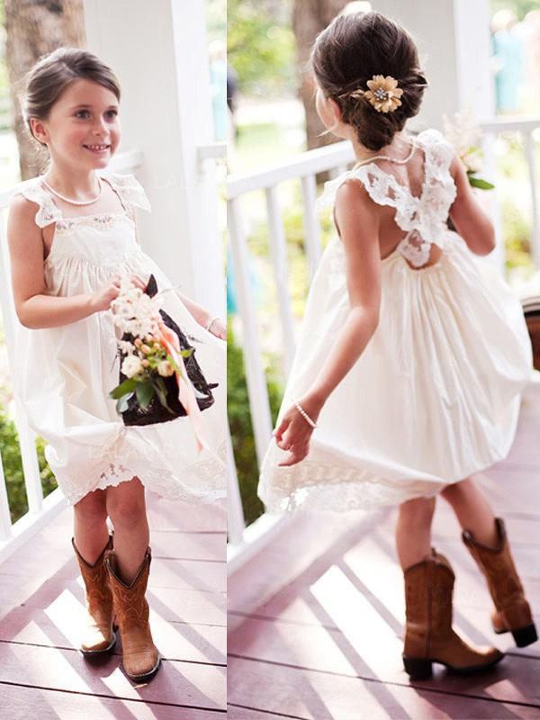 A-Line/Princess Square Sleeveless Lace Chiffon Knee-Length Flower Girl Dresses