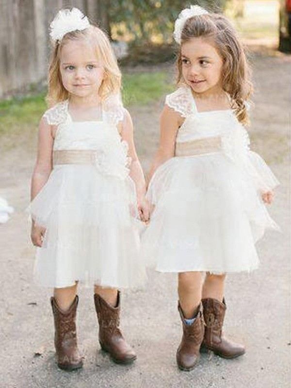 A-Line/Princess Square Sleeveless Sash/Ribbon/Belt Tulle Knee-Length Flower Girl Dresses