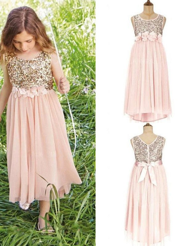 A-Line/Princess Scoop Sleeveless Sequin Chiffon Tea-Length Flower Girl Dresses