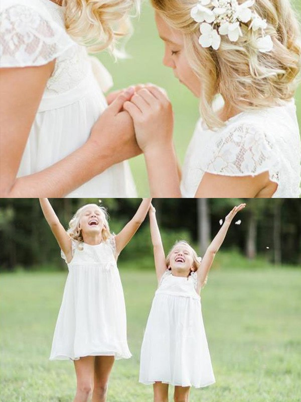 A-Line/Princess Scoop Short Sleeves Knee-Length Lace Chiffon Flower Girl Dresses