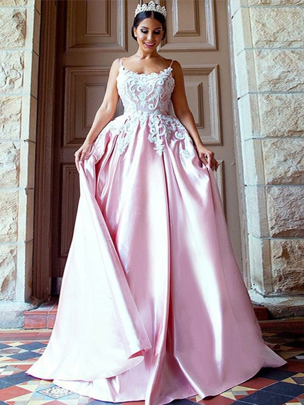 Ball Gown Spaghetti Straps Sleeveless Sweep/Brush Train Applique Satin Dresses