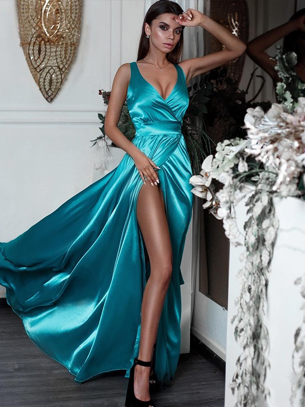 A-Line/Princess V-neck Sleeveless Sweep/Brush Train Ruffles Satin Dresses