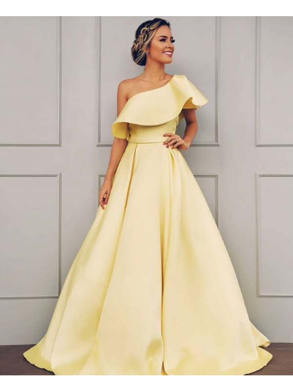 A-Line/Princess One-Shoulder Sleeveless Floor-Length Ruffles Satin Dresses