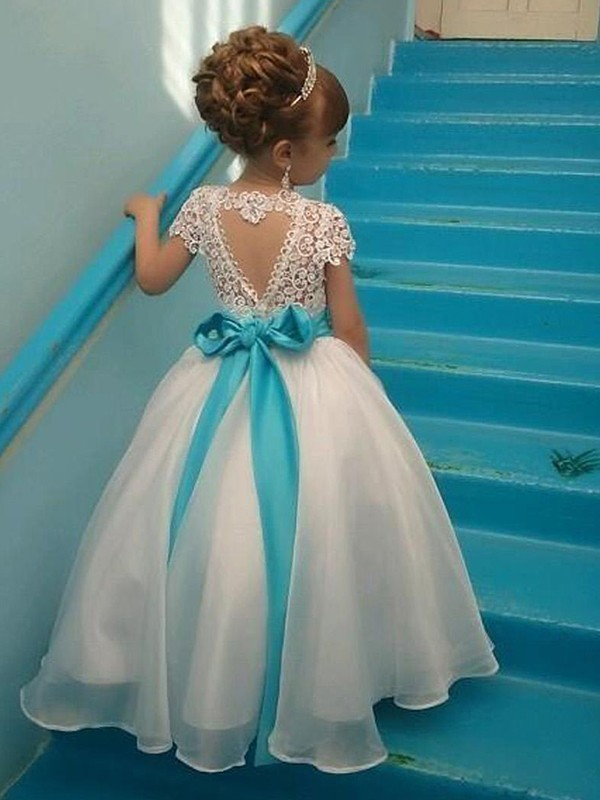 Ball Gown Scoop Short Sleeves Organza Floor-Length Beading Flower Girl Dresses