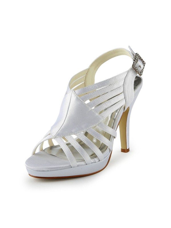 Women's Gorgeous Satin Stiletto Heel Sandals With Buckle Wedding Shoes