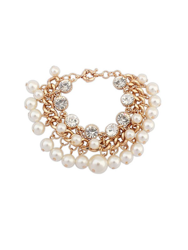 Occident Fashionable Pearls Flash Drilling Exquisite Bracelets