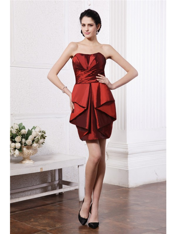 Sheath/Column Strapless Sleeveless Pleats Short Taffeta Cocktail Dresses