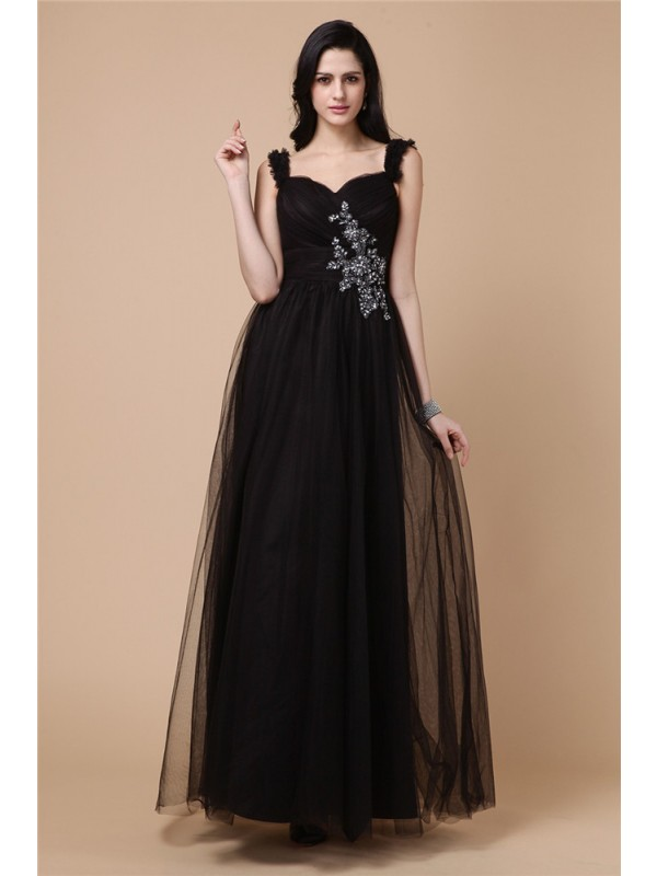 A-Line/Princess Straps Sleeveless Beading Applique Net Dresses