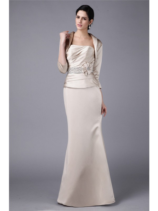 Sheath/Column Strapless Beading Hand-Made Flower Elastic Woven Satin Mother of the Bride Dresses