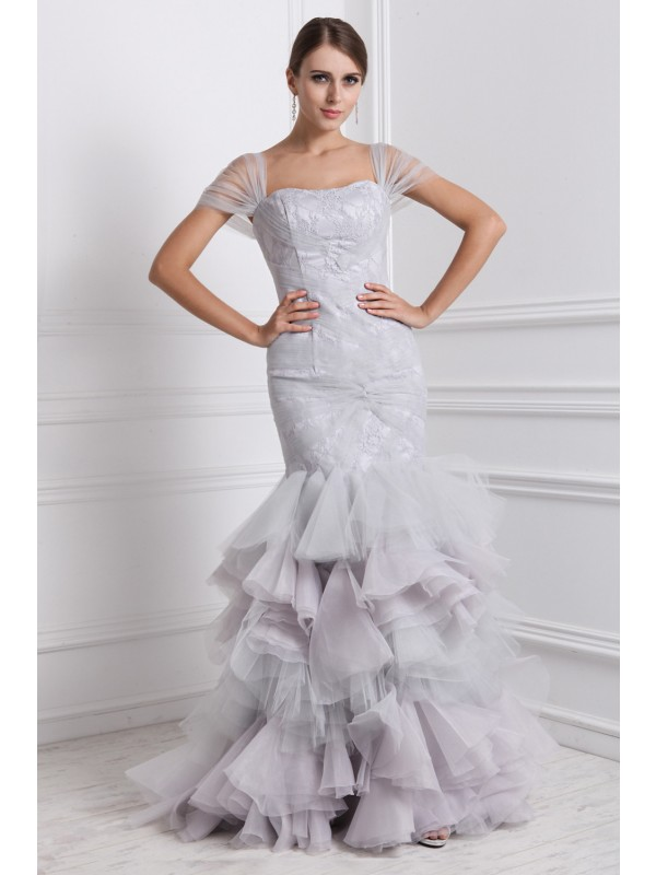 Trumpet/Mermaid Straps Short Sleeves Ruffles Long Organza Dresses
