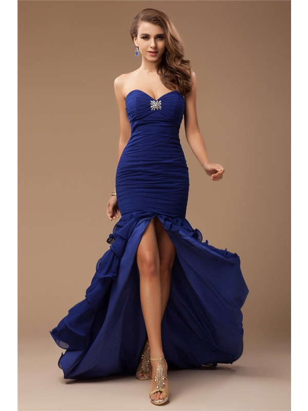 Trumpet/Mermaid Sweetheart Sleeveless Ruffles Beading Long Chiffon Dresses