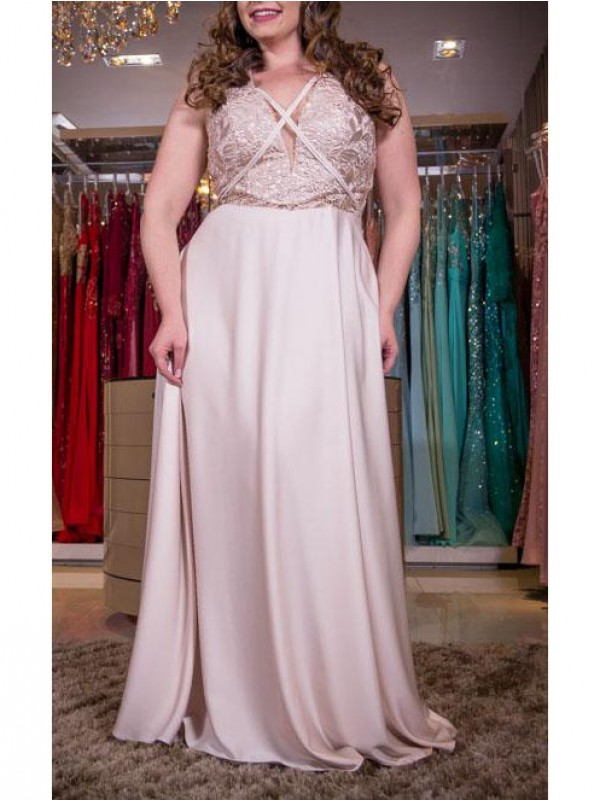 A-Line/Princess V-neck Sleeveless Applique Floor-Length Elastic Woven Satin Plus Size Dresses